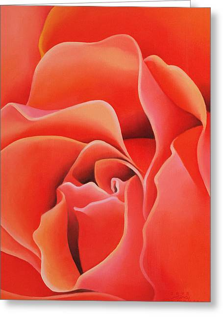 Red Abstracts Greeting Cards - The Rose, 2003 Oil On Canvas Greeting Card by Myung-Bo Sim