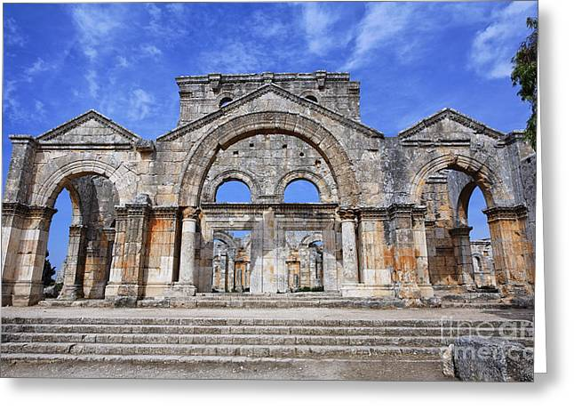 Levant Greeting Cards - The ruins of the church of St Simeon Syria Greeting Card by Robert Preston
