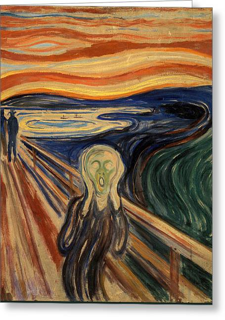 Recently Sold -  - Sunset Posters Greeting Cards - The Scream Greeting Card by Celestial Images