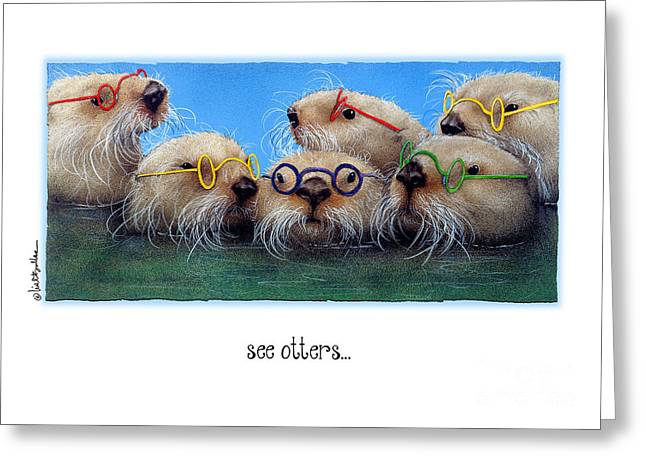 Bullis Greeting Cards - The see otters... Greeting Card by Will Bullas
