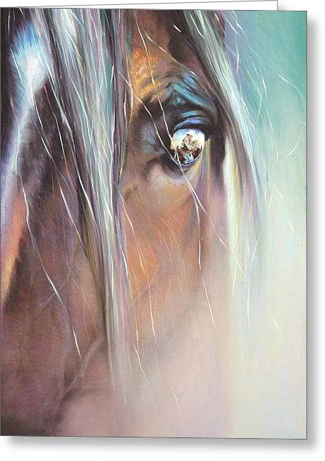 Pony Pastels Greeting Cards - The Sentinel Greeting Card by Sally Buffington
