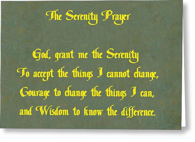 12 Steps Greeting Cards - The Serenity Prayer Greeting Card by Philip Ralley