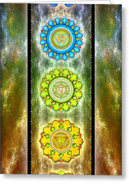 Buddhism Digital Art Greeting Cards - The Seven Chakras Series 2012 Greeting Card by Dirk Czarnota