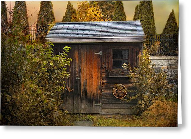 Shed Greeting Cards - The Shed Greeting Card by Jessica Jenney