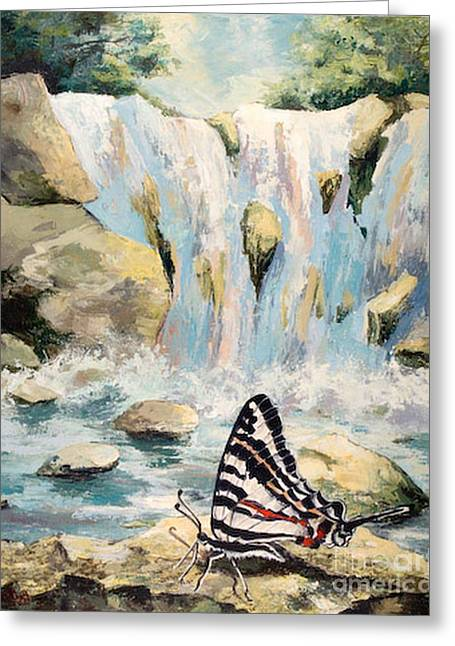 Inspired By Love Greeting Cards - The Silence of the Waterfall Greeting Card by Elisabeta Hermann