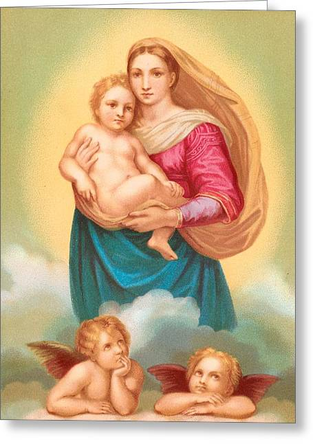 Lithography Greeting Cards - The Sistine Madonna Greeting Card by Raphael
