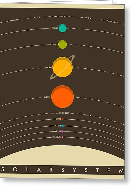 Orbit Greeting Cards - The Solar System Greeting Card by Jazzberry Blue
