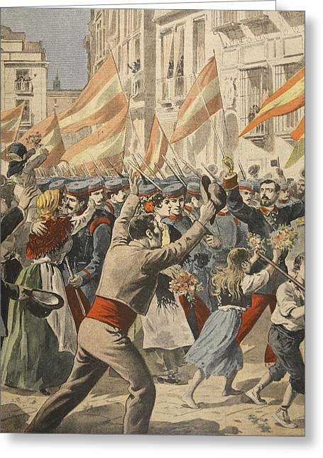 Civilians Greeting Cards - The Spanish American War, Illustration Greeting Card by French School