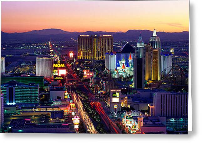 Recently Sold -  - City Lights Greeting Cards - The Strip, Las Vegas, Nevada, Usa Greeting Card by Panoramic Images