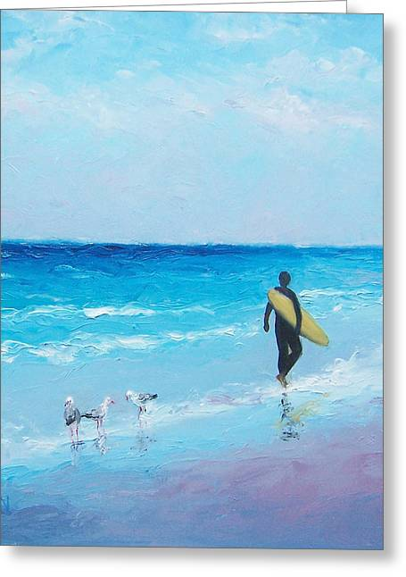 Surfing Art Print Paintings Greeting Cards - The Surfer Greeting Card by Jan Matson