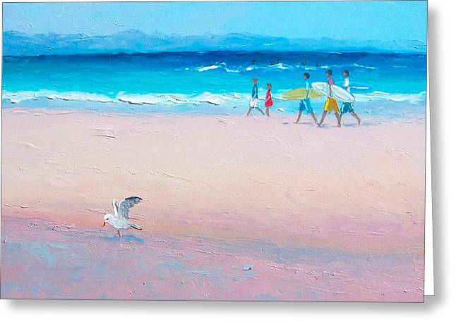 Surfer Art Greeting Cards - Bondi Surfers Greeting Card by Jan Matson