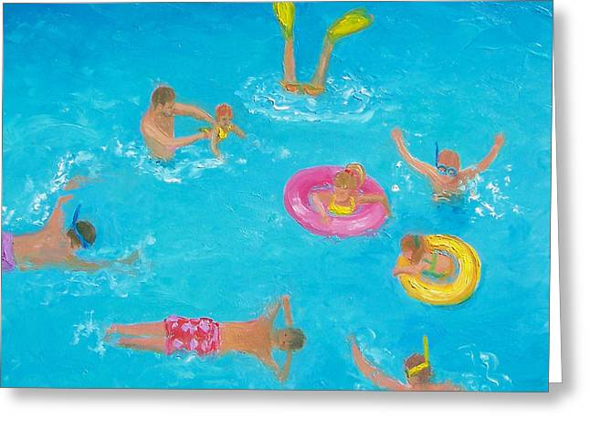 Bathroom Prints Paintings Greeting Cards - The Swimmers Greeting Card by Jan Matson