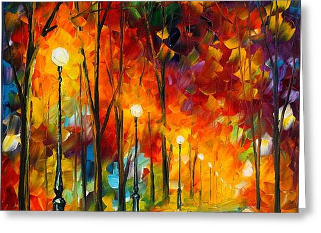 THE SYMPHONY OF LIGHT Greeting Card by Leonid Afremov