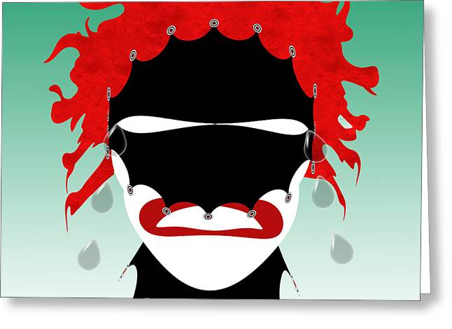 Jester Mixed Media Greeting Cards - The Tears Of A Clown Greeting Card by Andee Design