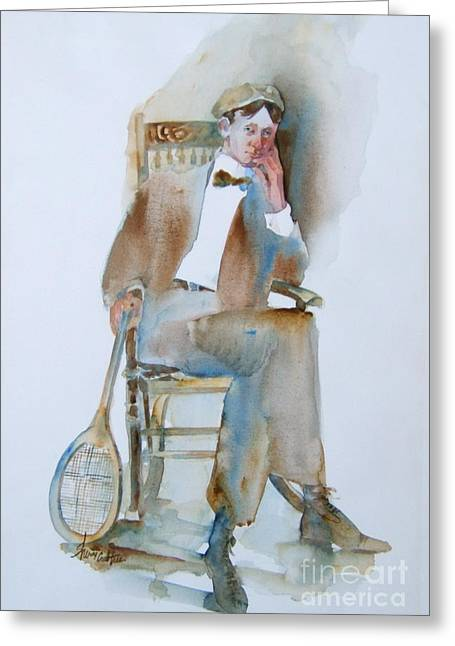 Tennis Player Paintings Greeting Cards - The Tennis Player Greeting Card by Sherri Crabtree