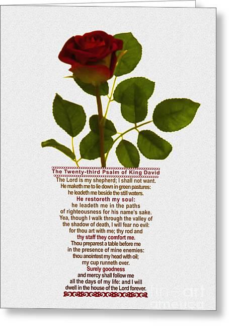 Psalm Of David Greeting Cards - The Twenty-third Psalm of King David Greeting Card by Emanuel Asante Jr