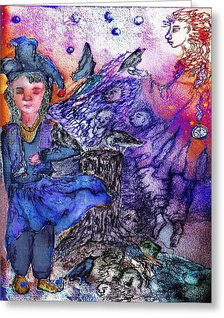 Winged Goddess Mixed Media Greeting Cards - The Vigil Greeting Card by Cynthia  Richards