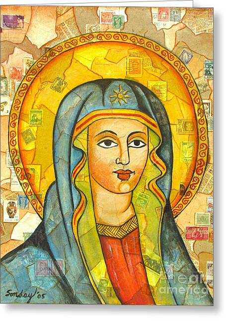 Religious Mixed Media Greeting Cards - The Virgin Greeting Card by Joseph Sonday