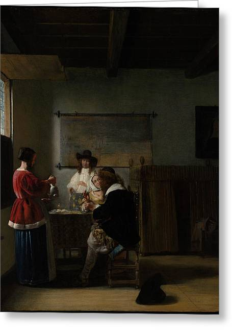 The Visit Greeting Card by Pieter de Hooch