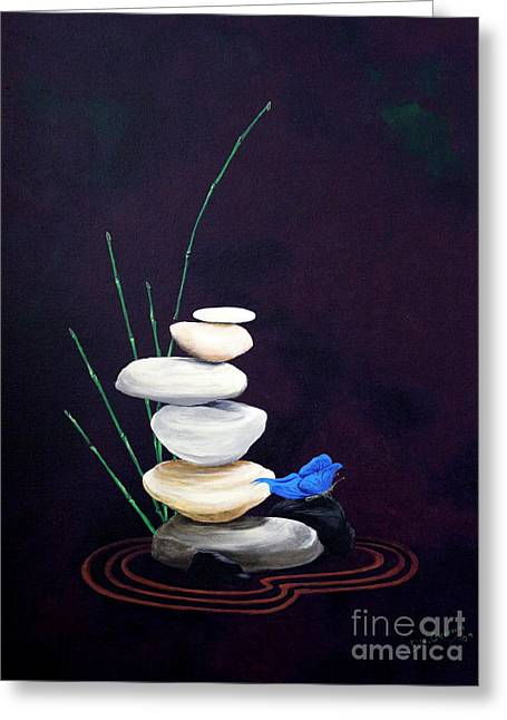 Zen Rock Stacking Greeting Cards - The Visitor Greeting Card by D L Gerring