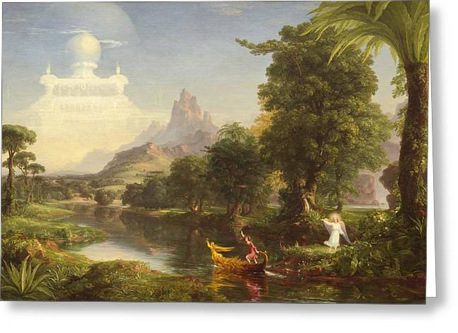 Thomas Cole Greeting Cards - The Voyage of Life Youth Greeting Card by Thomas Cole
