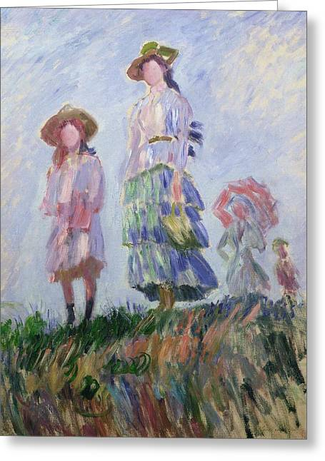Sun Hat Greeting Cards - The Walk Greeting Card by Claude Monet