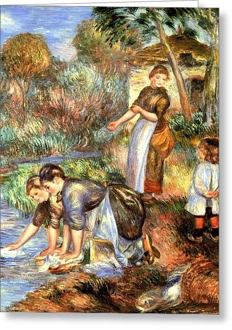Washing Clothes Greeting Cards - The Washerwoman Greeting Card by Pierre Auguste Renoir