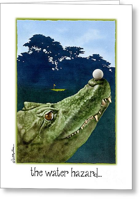 Humorous Greeting Cards Paintings Greeting Cards - The Water Hazard... Greeting Card by Will Bullas