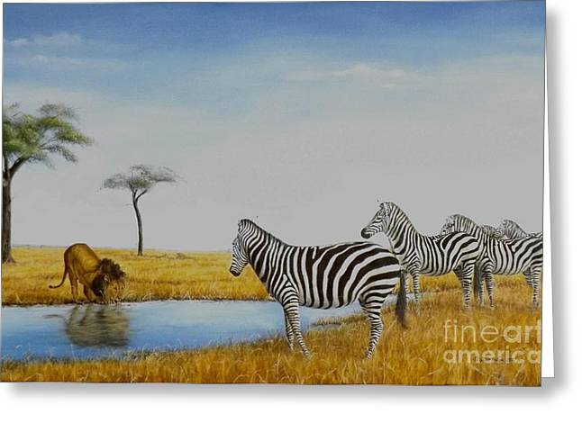 Zebra Greeting Cards Greeting Cards - The watering hole Greeting Card by Gilles Delage