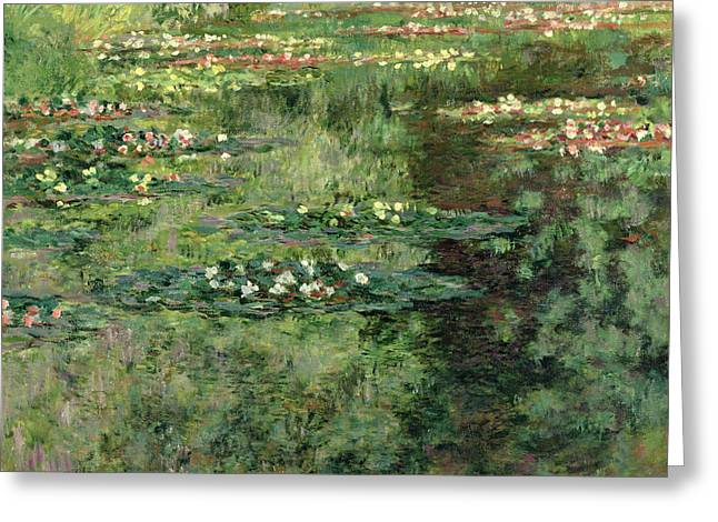 Reflecting Water Greeting Cards - The Waterlily Pond Greeting Card by Claude Monet