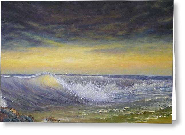 Storm Prints Greeting Cards - The Wave Greeting Card by Affordable Art Halsey