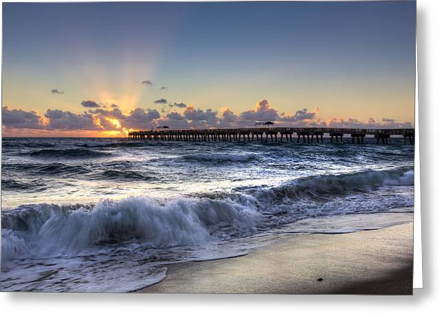 Cabanas Greeting Cards - The Wave Greeting Card by Debra and Dave Vanderlaan