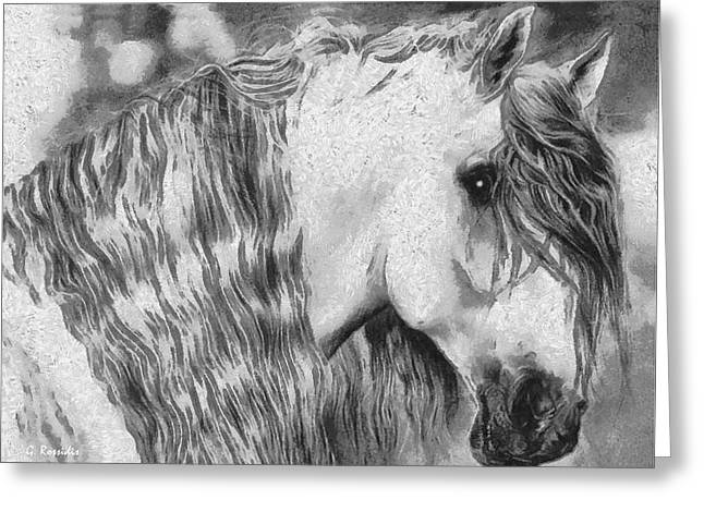 Wild Life Drawings Greeting Cards - The white horse Greeting Card by George Rossidis