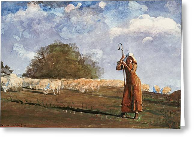 The Young Shepherdess Greeting Cards - The Young Shepherdess Greeting Card by Celestial Images
