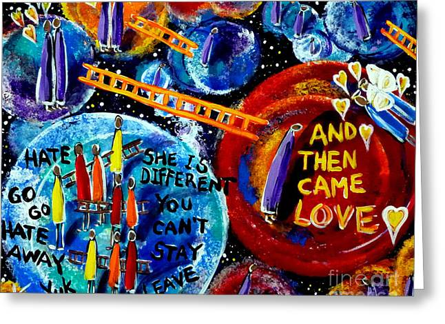 Discrimination Paintings Greeting Cards - Then Came Love Greeting Card by Jackie Carpenter