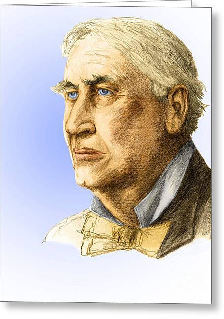 Edison Greeting Cards - Thomas Edison, American Inventor Greeting Card by Spencer Sutton