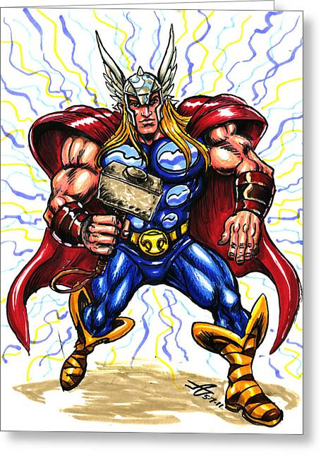 Thor Greeting Cards - Thor  Greeting Card by John Ashton Golden