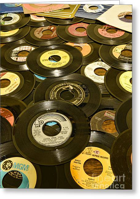 Disk Greeting Cards - Those old 45s Greeting Card by Paul Ward