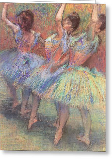 Ballet Dancers Pastels Greeting Cards - Three Dancers Greeting Card by Edgar Degas