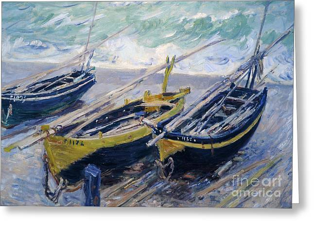 Fishing Boats Greeting Cards - Three Fishing Boats Greeting Card by Claude Monet