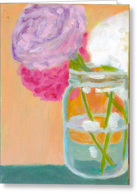 Recently Sold -  - Water Jars Greeting Cards - Three Peony Mason Jar Greeting Card by Molly Fisk