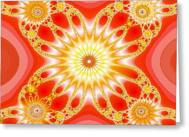 Orange Tapestries - Textiles Greeting Cards - Crazy Orange Greeting Card by Anne Barberi