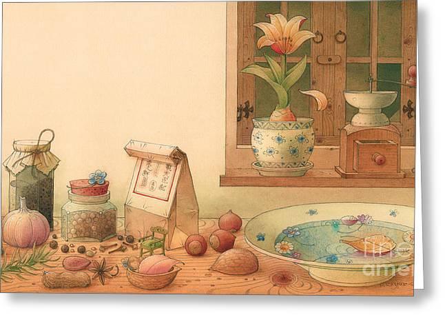 Kitchen Drawings Greeting Cards - Thumbelina01 Greeting Card by Kestutis Kasparavicius