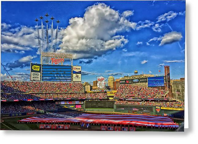 Jet Star Photographs Greeting Cards - Thunderbird Flyover at Target Field for All Star Game Greeting Card by Mountain Dreams