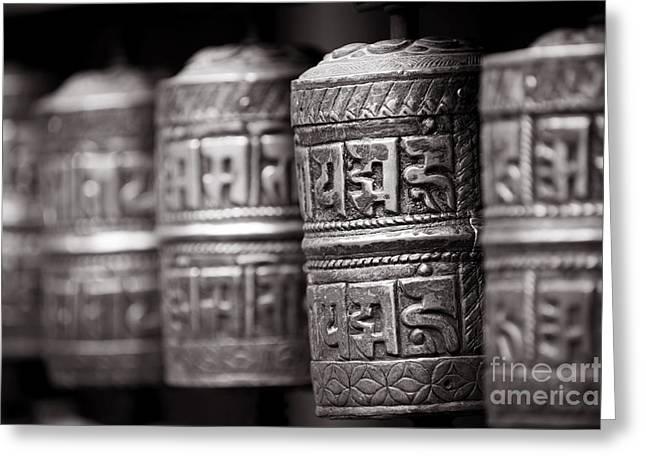 Tibetan Buddhism Greeting Cards - Tibetan Prayer Wheels Nepal Greeting Card by Kevin Miller