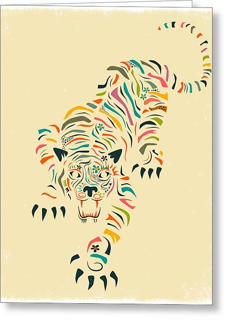 Tigers Digital Greeting Cards - Tiger Greeting Card by Jazzberry Blue