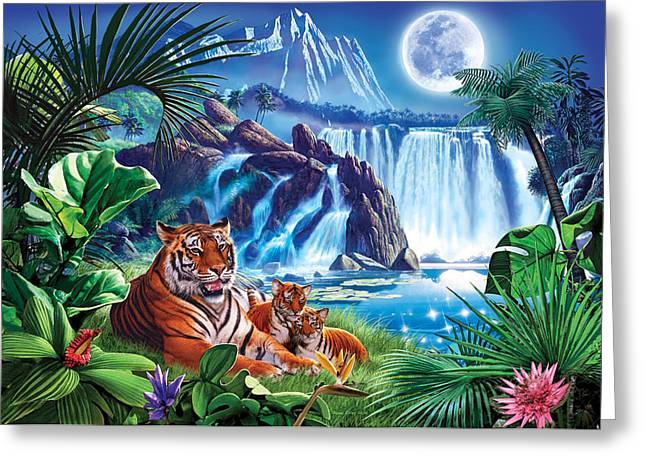 Crisp Greeting Cards - Tiger Moon Greeting Card by Steve Crisp