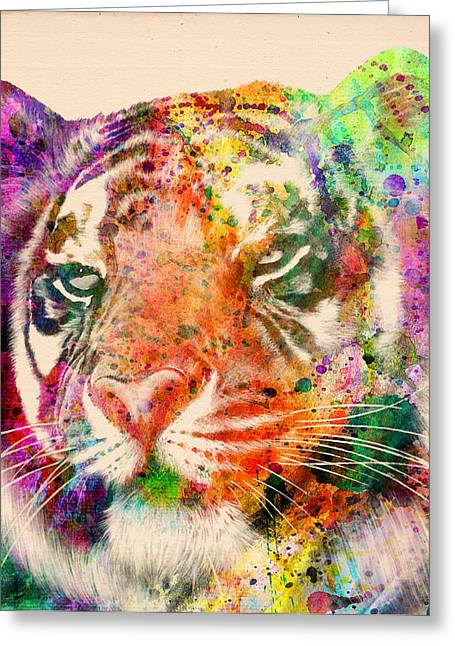 The Tiger Greeting Cards - Tiger Portrait  Greeting Card by Mark Ashkenazi