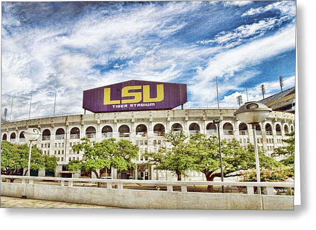 Sec Photographs Greeting Cards - Tiger Stadium Panorama Greeting Card by Scott Pellegrin