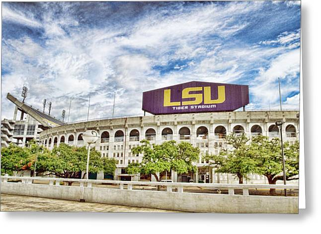 Tiger Stadium Panorama Greeting Card by Scott Pellegrin